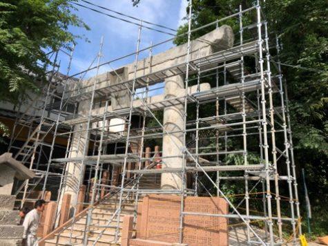 コンクリートの鳥居改修
