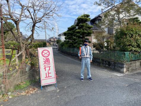 墓石工事にてガードマン!?